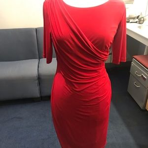 Connected Apparel Red Jersey Dress